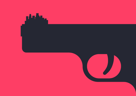 foresight: Urban crime. Silhouette of a pistol with a silhouette of the cityscape placed on a gun barrel instead of   foresight. Urban crime concept illustration.