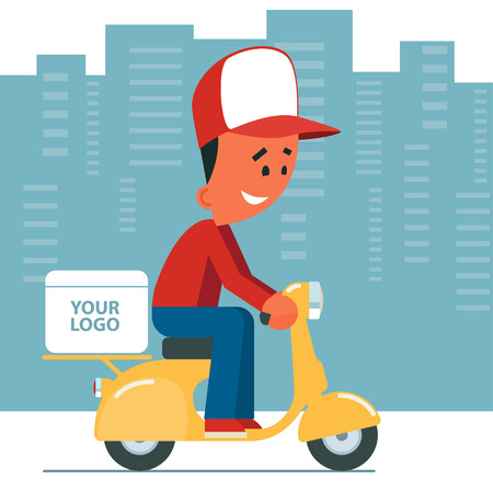 baseball cartoon: Delivery service. Cartoon young man riding a scooter with delivery box on it. Cityscape background.