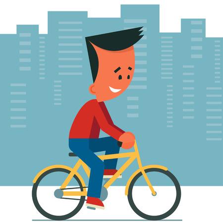 bicicleta: Joven de dibujos animados que monta una bicicleta. Fondo del paisaje urbano. Vectores