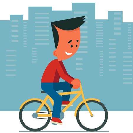 Cartoon young man riding a bicycle. Cityscape background. Illustration