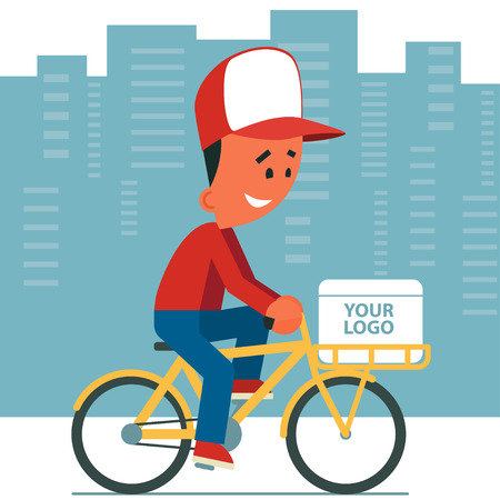 couriers: Delivery service. Cartoon young man riding a bicycle with delivery box on it. Cityscape background.
