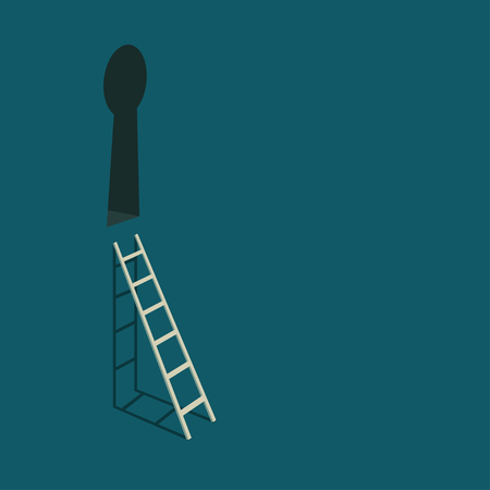 espionaje: Keyhole and stairs. Conceptual illustration.