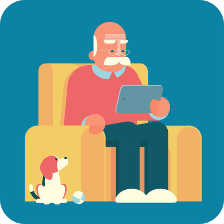 old pc: Cartoon old man sitting in armchair and using a tablet pc. The dog is looking at him. Illustration