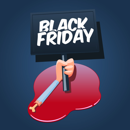 severed: Black Friday concept illustration. Cartoon severed male hand holds Black Friday banner and lies in a blood pool.
