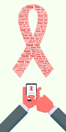 aids virus: World AIDS day money donation. Man sending money using smartphone. World AIDS day supporting. AIDS awareness red ribbon made of   Thank you words. Hands are cropped using clipping mask.