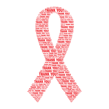 aids virus: AIDS awareness red ribbon made of Thank you words. Isolated on white background. World AIDS day concept illustration.
