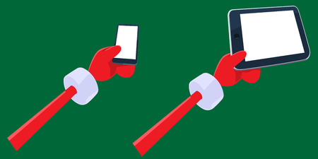 smartphone in hand: Cartoon Santa Clauss hands holding smartphone and tablet pc with blank screen. Hands, gadgets,   thumbs and background are in separate layers. You can insert your own information or elements on it. Illustration