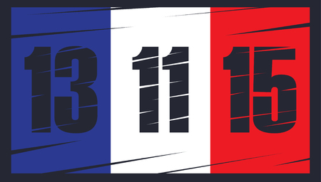 french flag: French flag on dark background. Date 13 11 15. The day of terrorist attack in Paris. Illustration