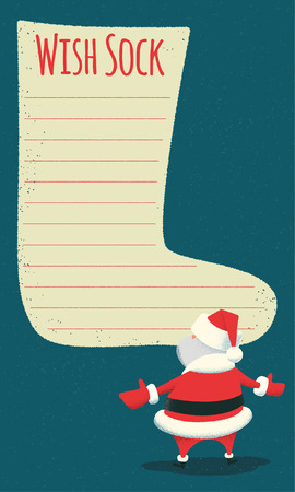 wish list: Wish sock. Surprised Santa Claus standing in front of a big blank wish list stylized as a sock. Vintage style illustration. Layered file.