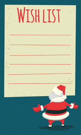 wish list: Wish list. Surprised Santa Claus standing in front of a big blank wish list. Vintage style illustration. Layered file.