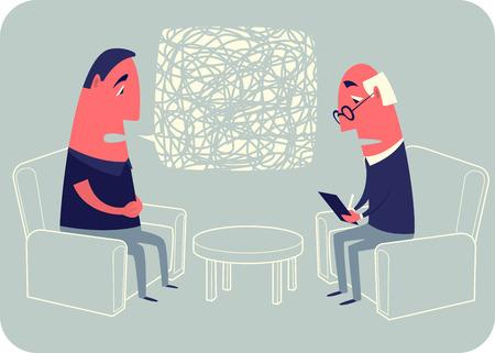 persona deprimida: El psicoanalista escucha al paciente y escribe. Vectores