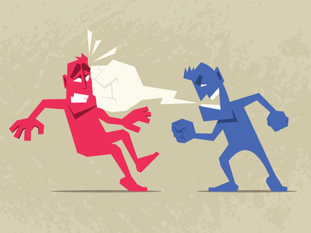 Brutal Dispute. Angry man shouting at another man. Speech bubble in form of fist.