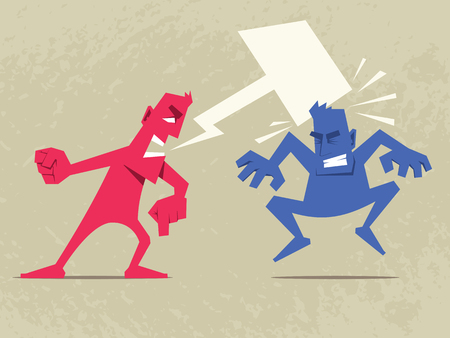 Extremely Convincing Argument. Angry man shouting at another man. Speech bubble in form of hammer. Vector Illustration