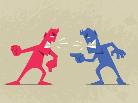 Hard gesprek. Twee boze mannen ruzie met elkaar.