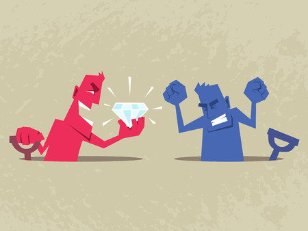 envious: Man found a big gemstone. Other man is envious and angry. Envy and success concept illustration. Illustration