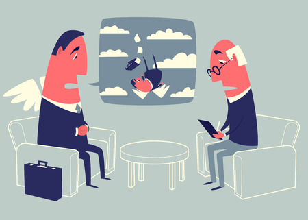 psychologist: Conversation with a psychologist. Angel investor sitting in armchair and telling to psychologist about his own problems. Illustration