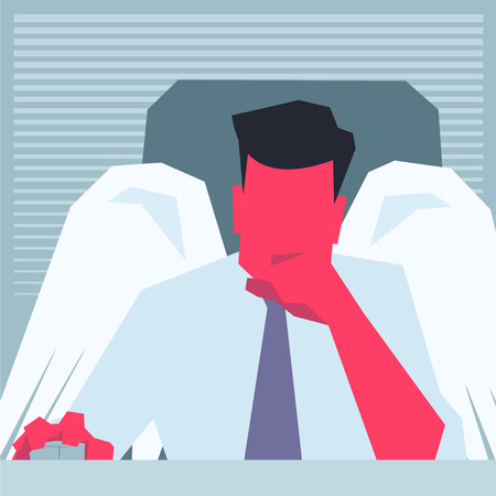 point of view: Business angel sitting in front of PC and thinking. Business angel sitting in front of PC PC monitor point of view propping his chin, holding computer  mouse. Retro style illustration. Illustration