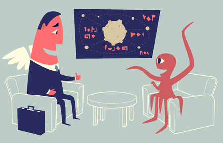 investor: Alien sitting in armchair and presenting startup idea to angel investor using a chart.