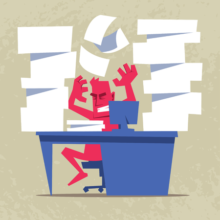 Exhausted and stressed businessman yelling and throwing papers. Office stress illustration.