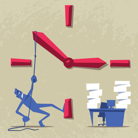 stressed businessman: Stressed businessman trying to stop the time. Deadline concept illustration. Illustration