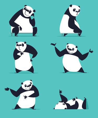 invitando: Conjunto de Panda en varias poses. Sentado, so�ando, pensando, que muestra, la mentira, invitando, dando vuelta. Cada Panda est� en la capa separada.