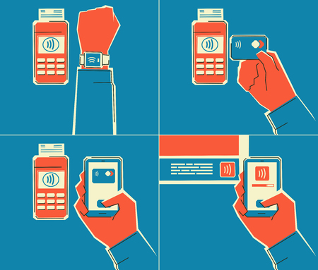 nfc: NFC technology using. Contactless payment using smartphone, smartwatch. NFC tag using. Retro   style illustration. Layered file.