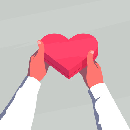 point of view: Valentines Day gift. Male hands holding a gift box in the shape of a heart. Personal point of view. Retro style   illustration.