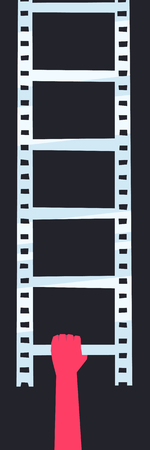 filmmaker: Hand holds the ladder in the form of a filmstrip. Filmmakers career start concept illustration.