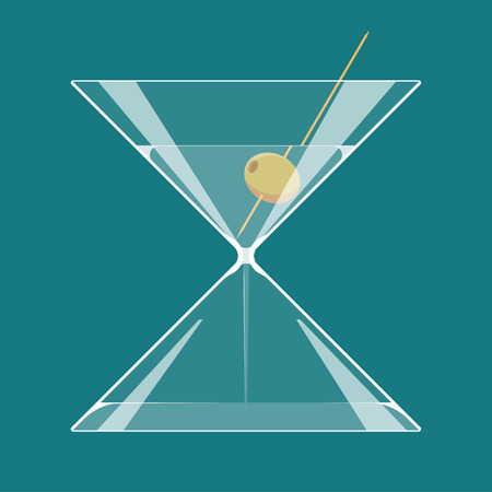happy hours: Martini hourglass. A glass of martini in the form of hourglass. Endless party or Happy hours concept illustration. EPS 10. Transparency used.