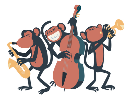 Three monkeys playing jazz. One of them plays the saxophone, the other one plays the contrabass and the third one plays the trumpet.
