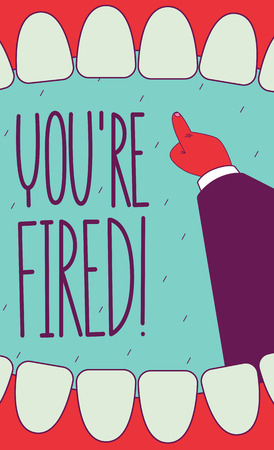 you are fired: You are fired! Open screaming mouth and pointing hand. Subject view perspective. Wide angle. Illustration