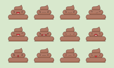 excrement: Set of  cute  poop emoticons. Isolated on green background.