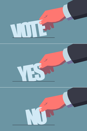 elect: Voting concept illustrations set. Male hand putting stylized ballots in the ballot-box. Vintage style illustration. Layered file, clipping masks used. Illustration