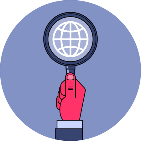 espionage: Global research. Male hand holding magnifying glass with globe symbol inside. Global research, espionage, intelligence concept illustration.  Clipping mask used.