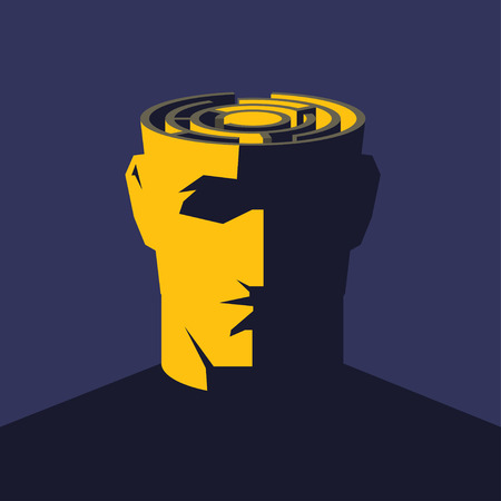 laberinto del cerebro. cabeza abierta de sexo masculino con laberinto en el interior. Concepto de psicología de la ilustración.