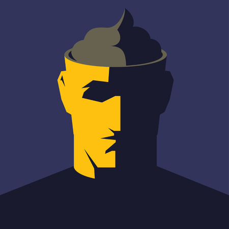 dumb: Male open head with big poop inside. Public or media manipulation concept illustration.