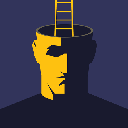 Getting out of myself. Male open head with ladder. Escape concept illustration.