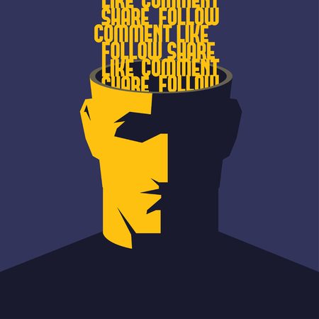 addicted: Social media addicted. Male open head with words Like, Comment, Share, Follow inside. Social media influence concept illustration.