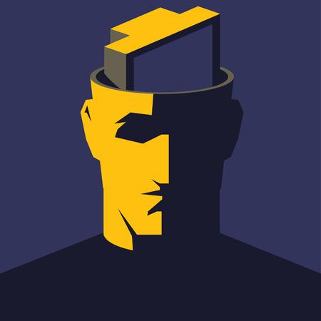addicted: TV addicted. Male open head with TV set inside. Mass media influence concept illustration. Illustration