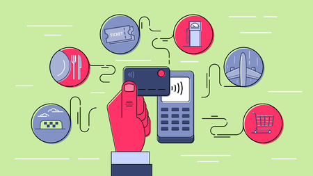 nfc: Contactless payment using credit card. NFC technology. Payment for goods and services. Infographic style outline illustration. Illustration