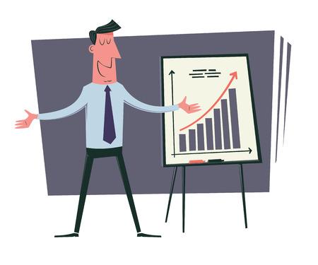 good business: Good business results. Cartoon businessman presents growth chart. Vintage style illustration. Illustration