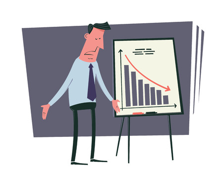 bad business: Bad business results. Frustrated businessman standing near the negative statistics chart. Vintage style illustration.