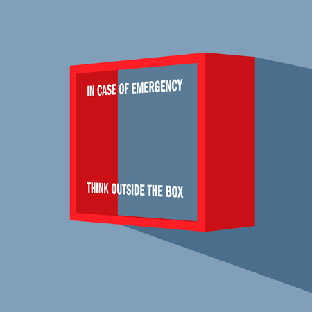 outside the box: Emergency box on the wall with punning inscription on it - In case of emergency think outside the box.