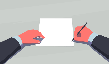 subjective: Man holding pen and sits in front of a blank sheet of paper. Subjective view perspective. Making decision concept. Vintage style illustration.