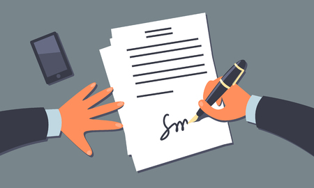 subjective: Businessman signing the document. Subjective view perspective. Cartoon style illustration. Clipping mask used.