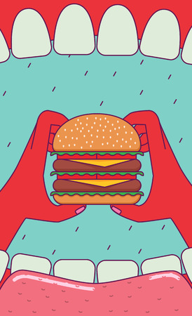 wide angle: Eating big burger. Open mouth and hands holding huge burger. Subjective view perspective. Wide angle. Illustration
