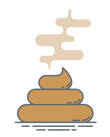 stinky poop pile. Modern outline style illustration. Isolated on white background.