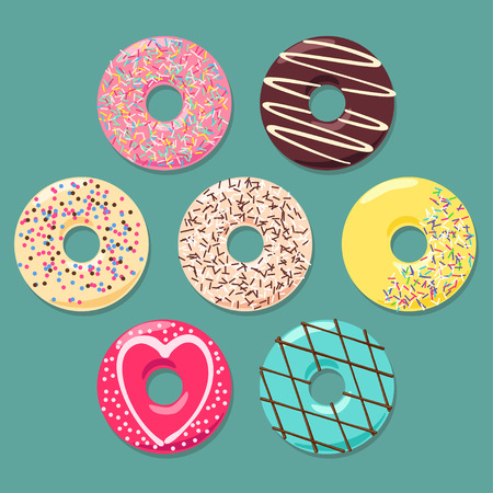 sprinkle: Set of seven colorful donuts on grey cyan backdrop. Each donut is in separate layer.