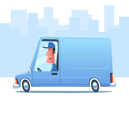 man: Cartoon smiling man driving a service van against the background of city.