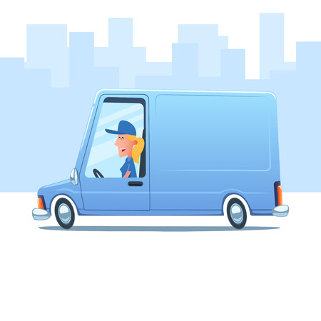 workwoman: Cartoon smiling woman driving a service van against the background of city.